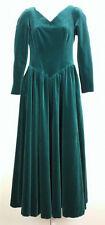 Vintage Laura Ashley Dress Green Velvet Holiday Misses US 8 UK 10