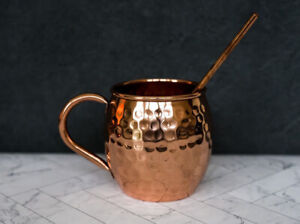 100% Pure Copper Hammered Moscow Mule Mug, Beer, Cocktail, not plated stainless.