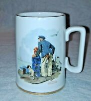Vintage Norman Rockwell Looking Out to Sea Old Man Boy Dog Coffee Tea Cup Mug