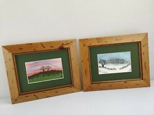 2 Beautiful Hand Sewn Stitchscapes Landscape Art Framed Pictures By Audrey Smith