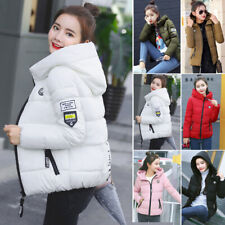 UK Womens Quilted Padded Puffer Bubble Winter Coat Hooded Jacket Warm Plus 6-18