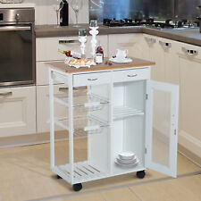 "34"" Rolling Kitchen Trolley Island Cart Bamboo Top w/ Drawer Cabinet White"