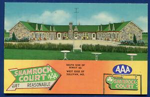 Shamrock Court AAA Motel on Route 66 Sullivan Missouri mo linen postcard