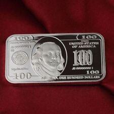 1 Troy oz  Franklin $100 bill design .999 Fine Silver Bar Bullion.  New! Ben