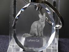 LaPerm, Cat Crystal Round Keyring, High Quality, Crystal Animals Usa