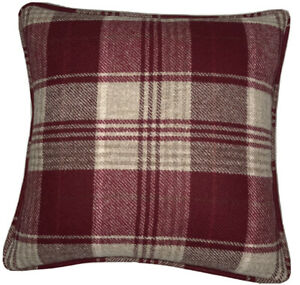 A 16 Inch cushion cover in Laura Ashley Cranbourne Wool Cranberry Fabric