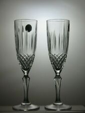 "CUT GLASS LEAD CRYSTAL CHAMPAGNE FLUTES SET OF 2 - 8 1/4"" TALL"