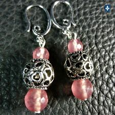 ♥ Adorable Strawberry Quartz & Silver Plated Earrings