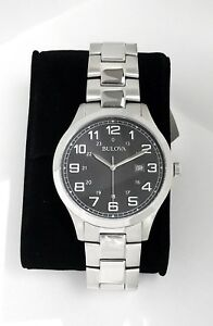 Bulova Men Quartz Watch 96B274 Stainless steel Date calendar BLACK dial # w/ Box