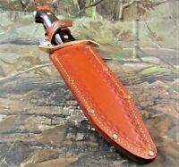 Vintage Western USA W-49 Fixed Blade Knife W/Custom Made Dangler Sheath  #P-27
