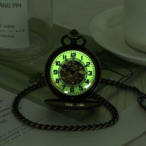 Mens Skeleton Pocket Watch Mechanical Hand Winding Luminous Full Hunter Skeleton
