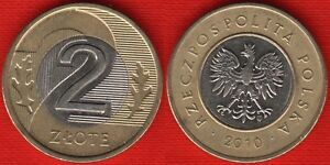 Poland 2 zlote 1994-2012 y#283 BiMetallic