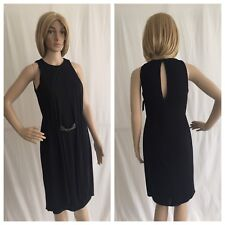 ZARA Black Jersey Dress With Applique At The Waist Formal Casual Work Size S