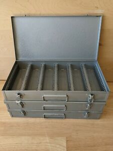 Vintage Lot 3 LOGAN DE LUXE Slide Files - Metal Storage Case 150 per - 2x2 35mm