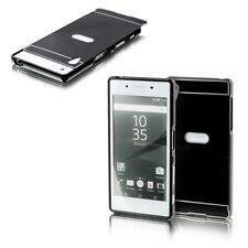 ALUMINIO CARCASA 2 piezas cubierta negro para Sony Xperia Z5 5.2 pulgadas Funda