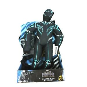 """Black Panther Marvel Character Pillow 13"""" Throw 40 X 50 Super Hero Gift Set NWT"""
