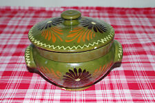Antique French alsacian hand crafted flowers pottery tureen pate pot