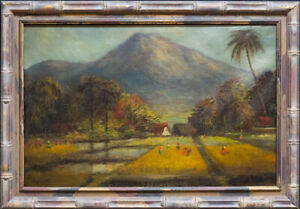 "Isidro Ancheta (1882 - 1946) Philippines Artist Oil ""Farms Near The Mountain"""