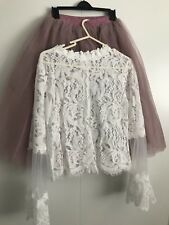 Dress Tulle Set Lace Crop Top with Sleeves and Tulle skirt long, Lace Crop Top