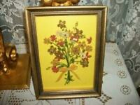 VINTAGE QUILLED PAPER FLOWER BOUQUET VELVET BOW PICTURES WOOD SHADOWBOX FRAME