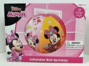 "Brand New Disney Jr Minnie Mouse 28"" Inflatable Ball Sprinkler Rolls & Sprays"