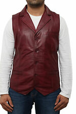 Mens Burgundy/Red Leather Five Button Fitted Blazer Style Waistcoat Gilet jacket