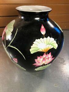 Black Porcelain Ginger Jar- Lotus Design- Made in China- NO LID
