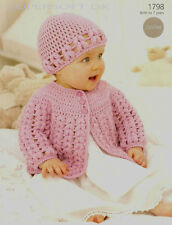 baby crochet  pattern  matinee jacket and hat size birth / 7 yr 16/26 in dk