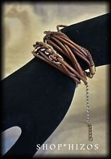 BLACK BROWN or GOLD LEATHERETTE WRAP GOLD METAL LINK BRACELET NEW