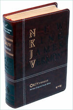 NKJV Bible Bilingual Korean and English dark brown leather NEW in box Expedite