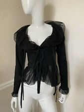 Cora Kemperman NEW! Black Cotton Tie-Front Blouse w/ Chiffon Ruffle Trim Sz S