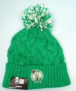 Boston Celtics Women's New Era Shimmer Faux Fur Lined Cuffed Pom Knit Beanie