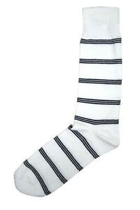 Brooks Brothers Mens White Blue Double Striped Cotton Dress Socks Sz 7-12 8015-5