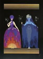 "Authentic VINTAGE Erte ART DECO ""stampa sera, notte"" FASHION BOOK Piastra"