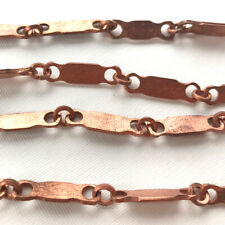 Solid Raw Copper Soldered Bali Chain 25x7mm Flat Rectangle Links Q1 Foot Per Pkg