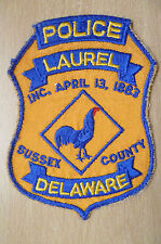 Patches: SUSSEX COUNTY LAUREL 1883 (DELAWARE) POLICE PATCH (New, 5.5x4 inch)