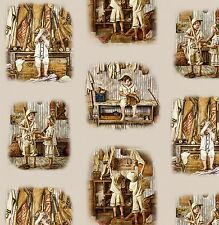 SEPIA CHILDREN BASEBALL TOILE FABRIC COTTON MATERIAL, From Elizabeths Studio NEW