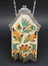 Mandalian 1920s Flapper Mesh Purse Enamel Art Deco Floral Orange Antique Vintage