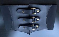 Elastic Black Corset Leather Belt Handmade