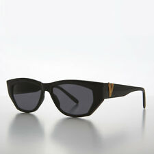 Black Chunky Mod Vintage Sunglass with Gold Bling Gray Lens- Val