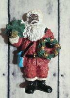 Vintage Black African American Santa  Figurine W/ Tree Kitchen Christmas Magnet