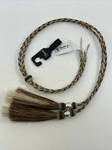 M & F Western Horsehair Tassle Stampede String Braided Leather Hat Band NWT