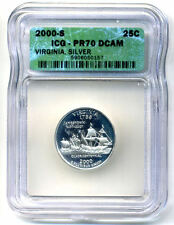 New listing Icg Pr70Dcam 2000 S Silver Proof Virginia State Quarter Uncirculated Coin#4386