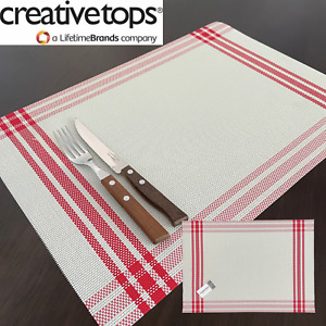 Placemats Vinyl Red Border Dining Table Mats Dinner Home Kitchen Place Mats