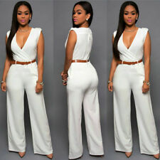 Women's Jumpsuit Ladies Palazzo Pants V Neck High Waist Wide Leg Dress Playsuit