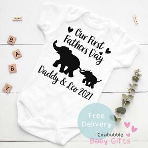 First Fathers Day Babygrow, Personalised 1st Fathers Day Elephant Vest, Bodysuit