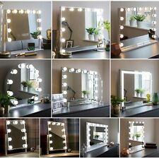 Hollywood Mirror Vanity with LED Light Up Globe Lights - Makeup Bedroom Table
