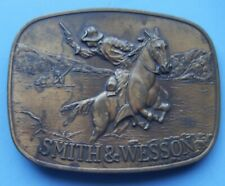 Vintage 1975 Smith & Wesson Firearms Cowboy & Indian Brass Belt Buckle