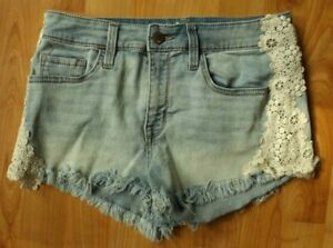 Ladies Juniors Size 6 28 MOSSIMO Lace High Rise Denim Jean Shorts Short Stretch