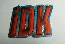 CHATSPEAK JK JUST KIDDING ORANGE BLUE  TEXT #10 METALLIC STICKER